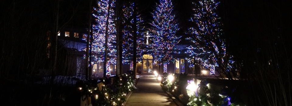 Snowmass Chapel with Christmas lights